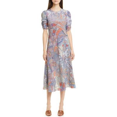 Etro Paisley Print Silk A-Line Midi Dress, US / 48 IT - Blue