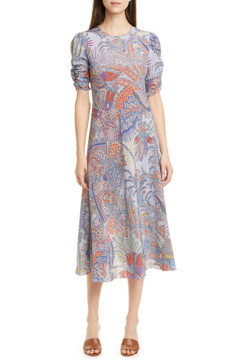 ETRO Paisley Print Silk A-Line Midi Dress, Main, color, BLUE