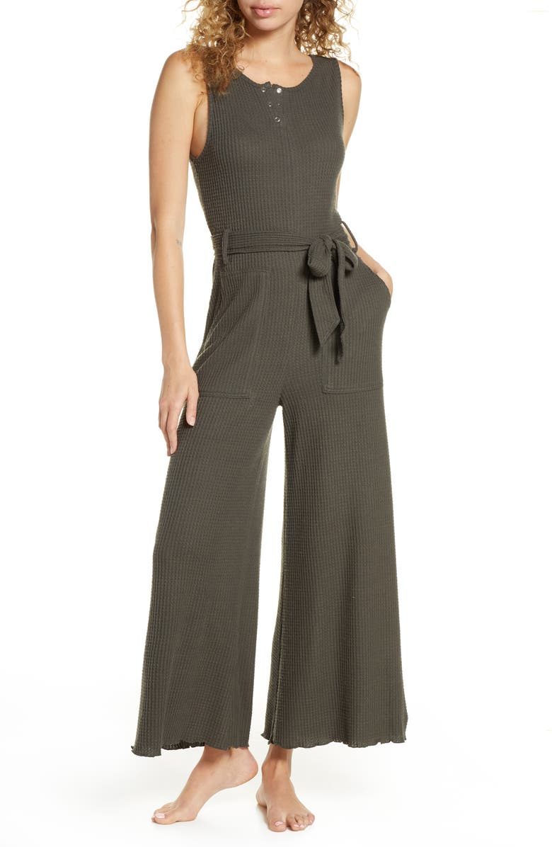 BP. Belted Waffle Knit Henley Jumpsuit, Main, color, GREY BELUGA