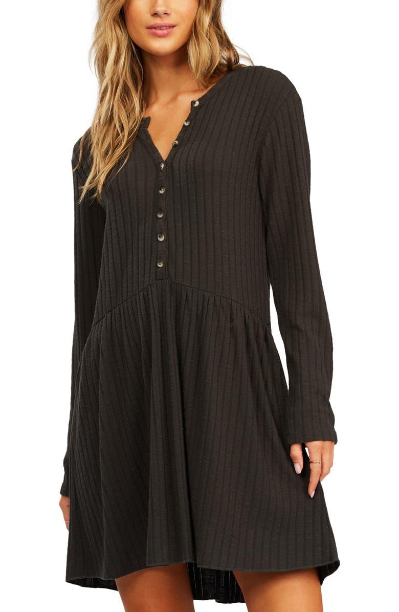 BILLABONG Always Lounging Long Sleeve Rib Dress, Main, color, OFF BLACK