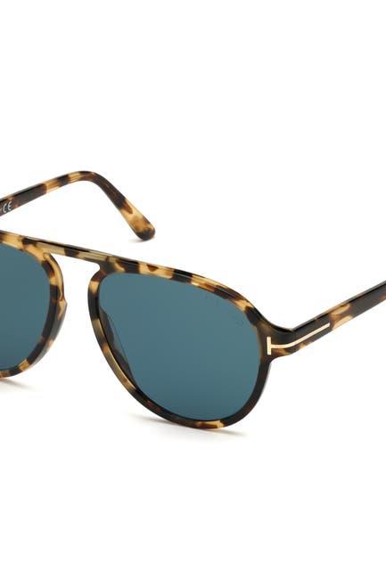 Image of Tom Ford Tony 57mm Aviator Sunglasses