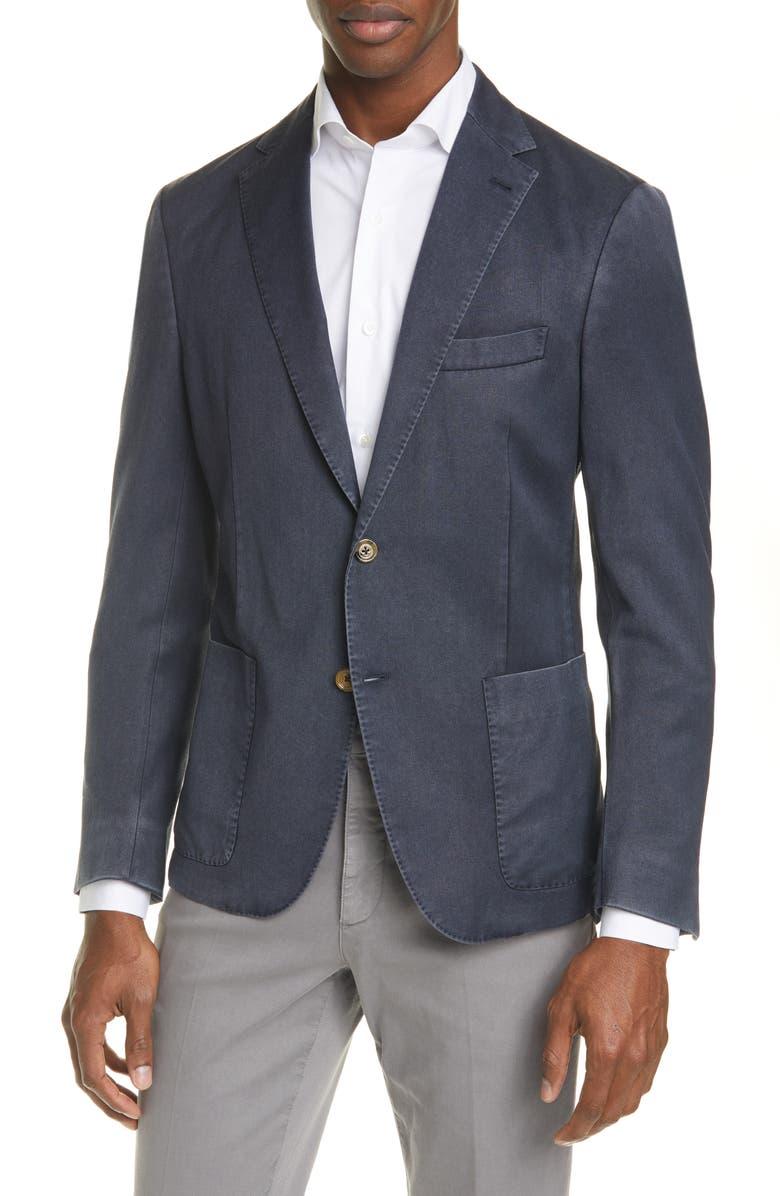 ELEVENTY Trim Fit Washed Wool Sport Coat, Main, color, NAVY