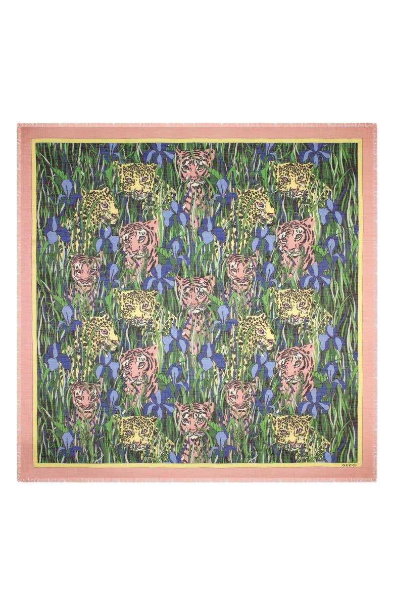 GUCCI Feline Garden Print Square Scarf, Main, color, BLACK/ PINK