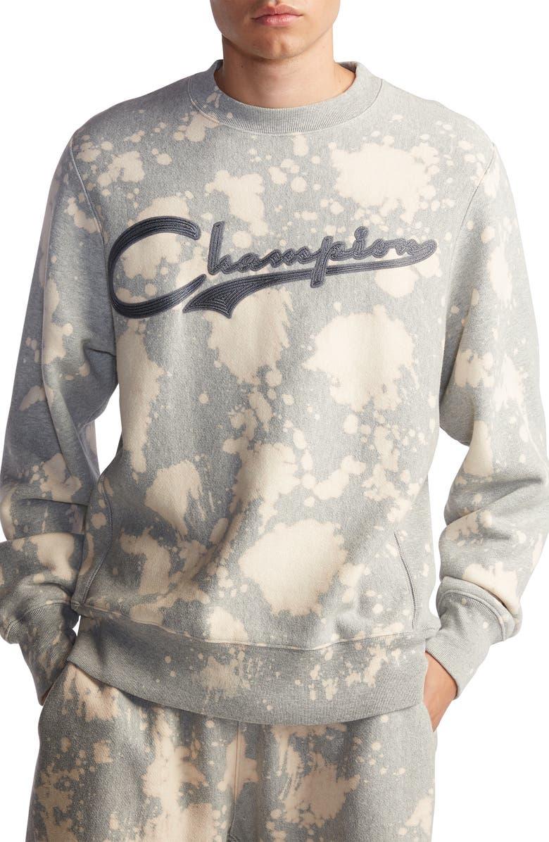 CHAMPION Bleach Splatter Crewneck Sweatshirt, Main, color, OXFORD GREY