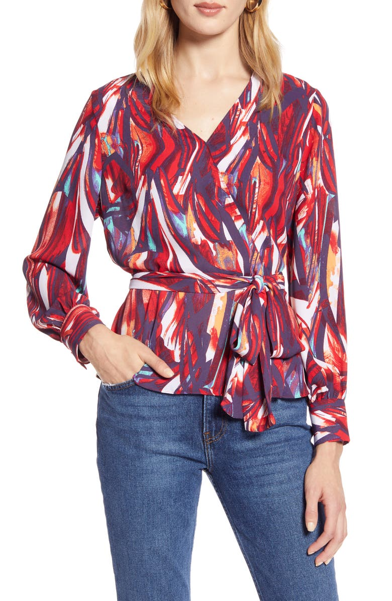HALOGEN<SUP>®</SUP> Faux Wrap Blouse, Main, color, 610