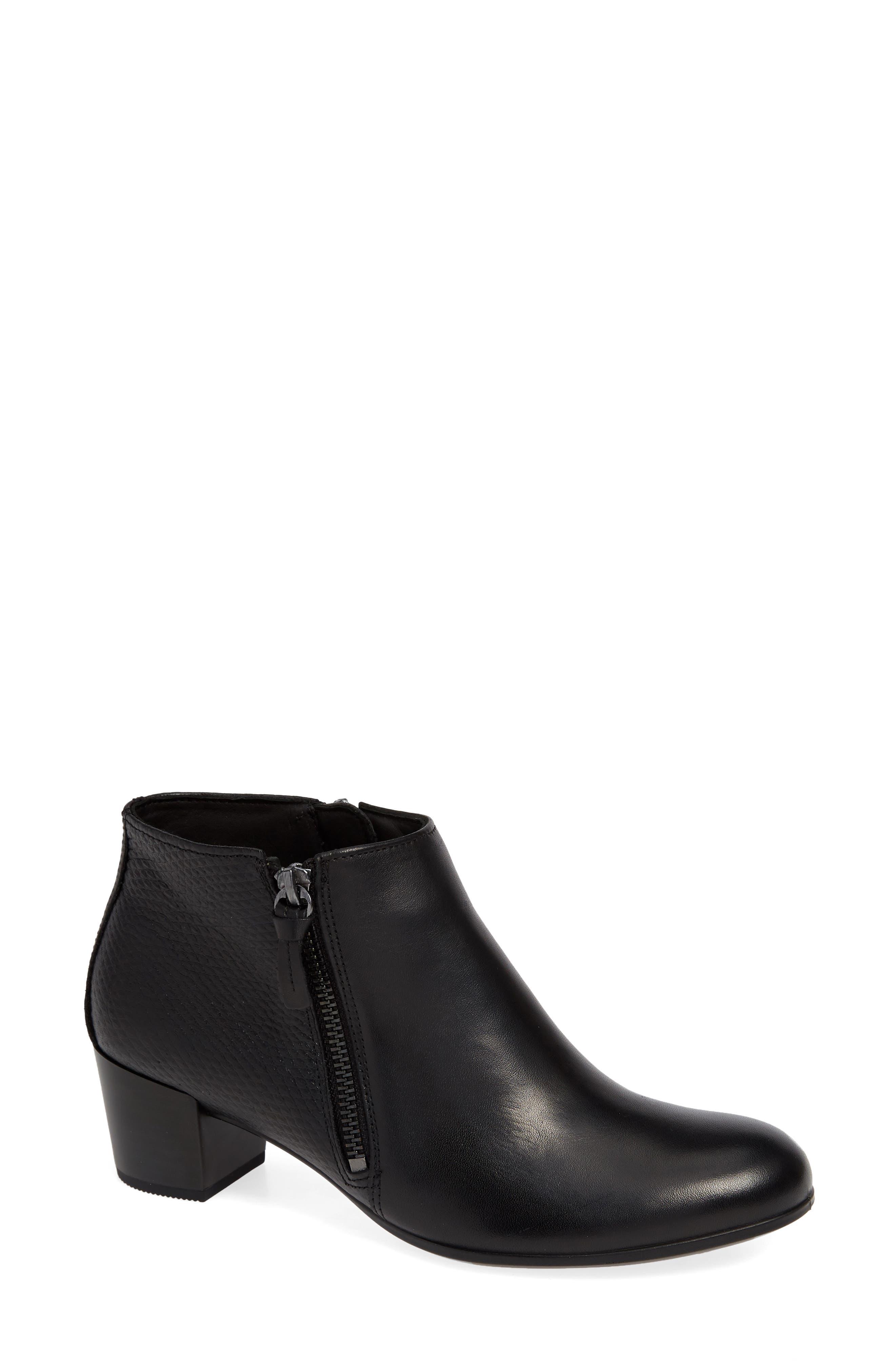 Shape 35 Ankle Bootie, Main, color, BLACK LEATHER