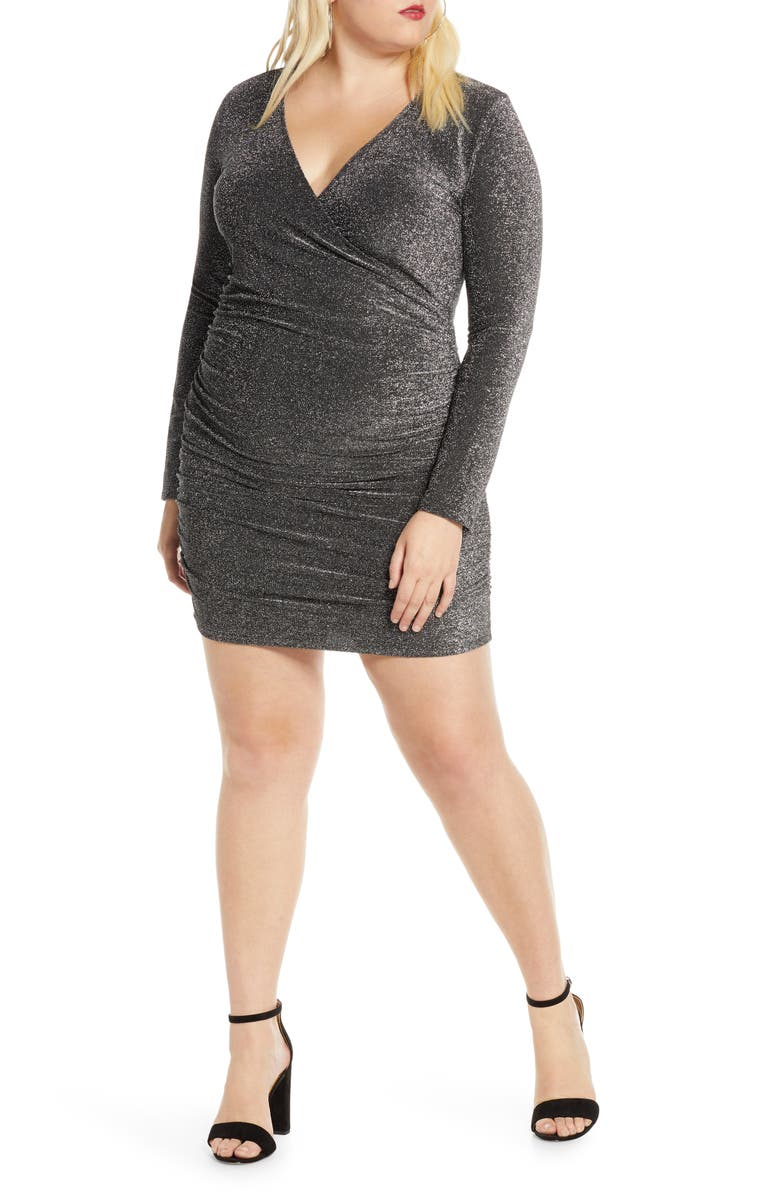 LEITH Metallic Long Sleeve Wrap Dress, Main, color, BLACK SILVER METALLIC