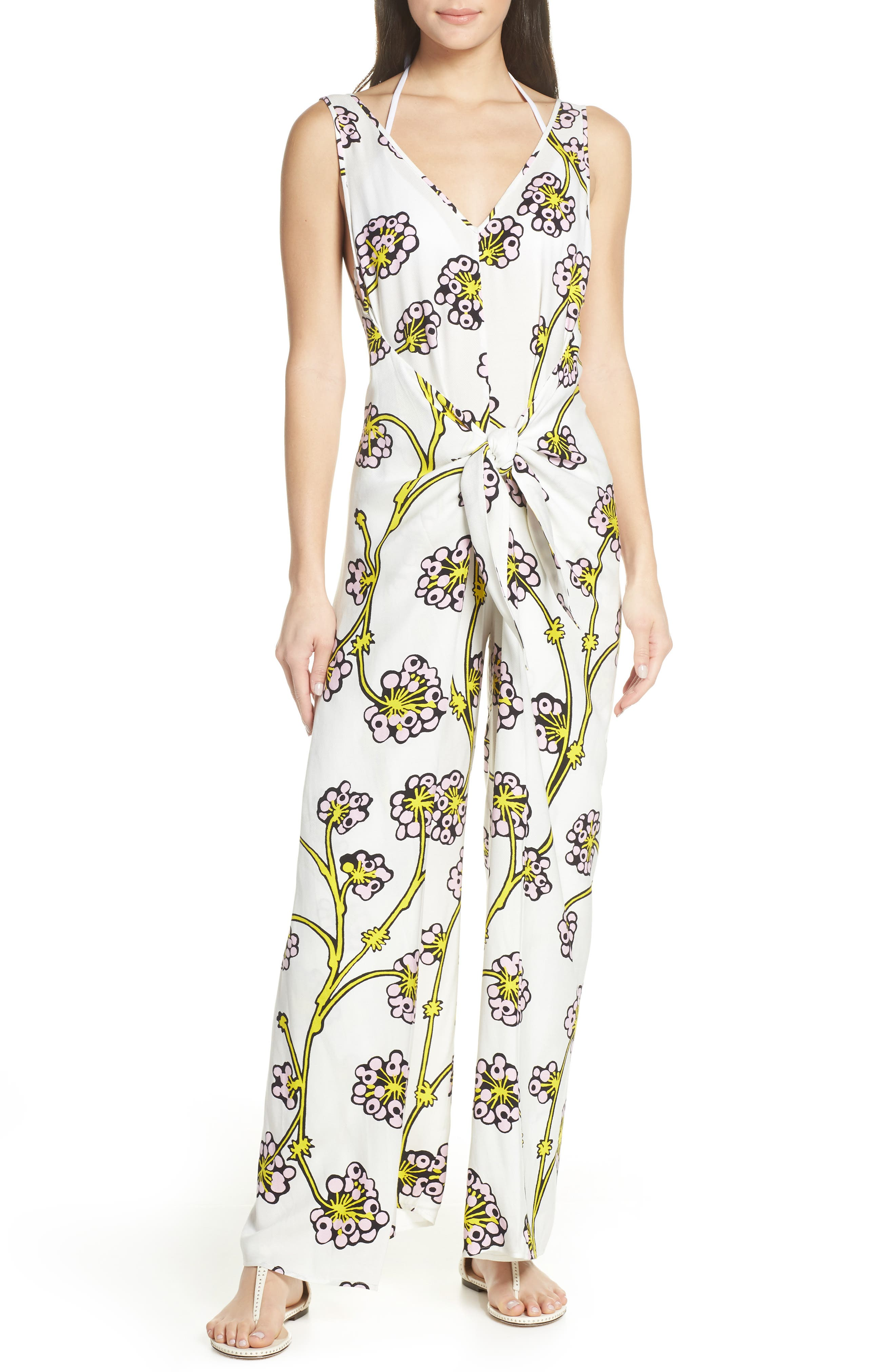 Print Jumpsuit Cover-Up, Main, color, DRAGON BERRY GIANT IVORY
