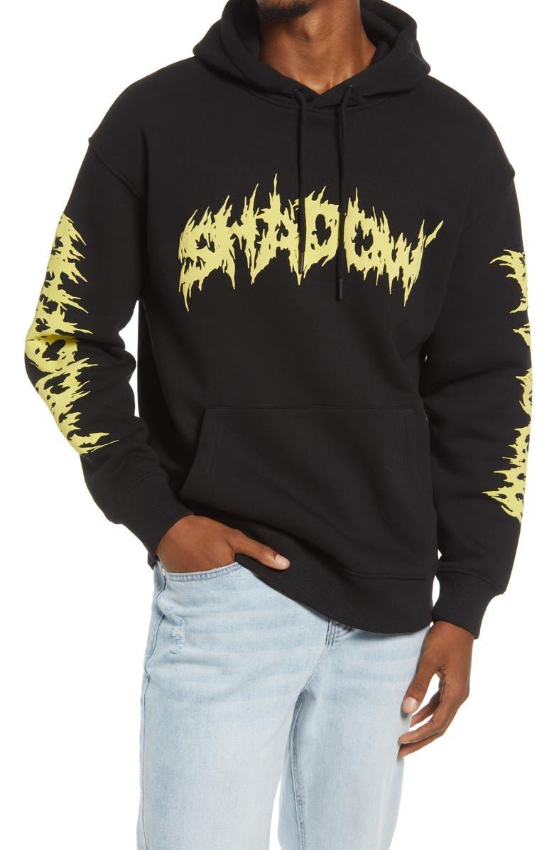 TOPMAN Shadow Hoodie, Main, color, BLACK