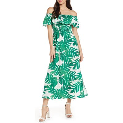 Bardot Palm Leaf Print Off The Shoulder Maxi Dress, Green
