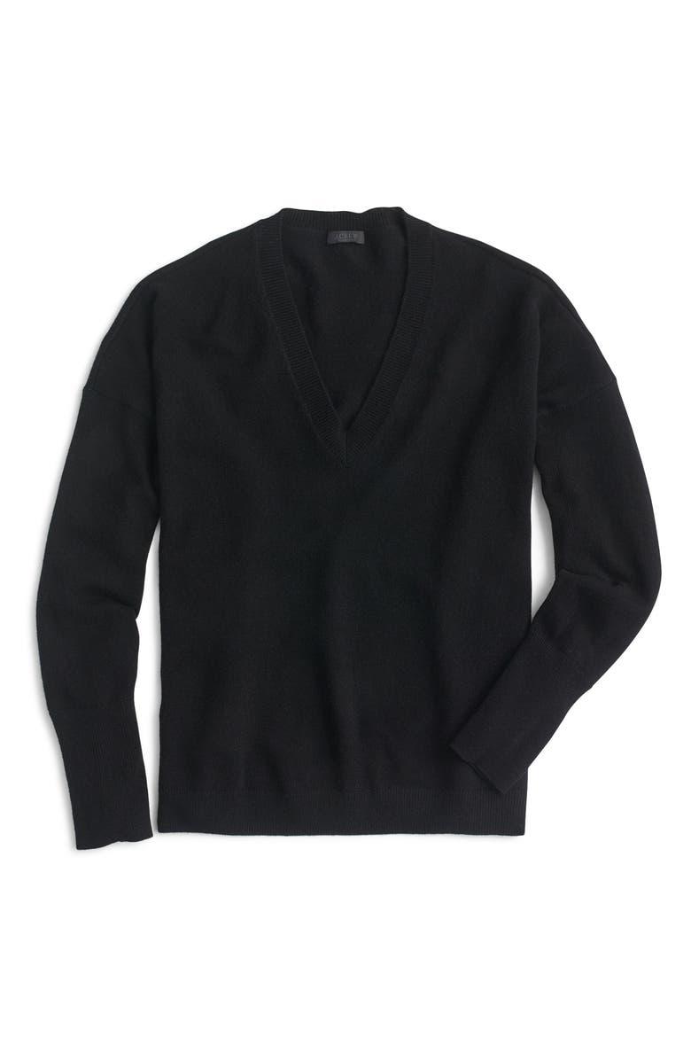 J.CREW V-Neck Boyfriend Cashmere Sweater, Main, color, BLACK