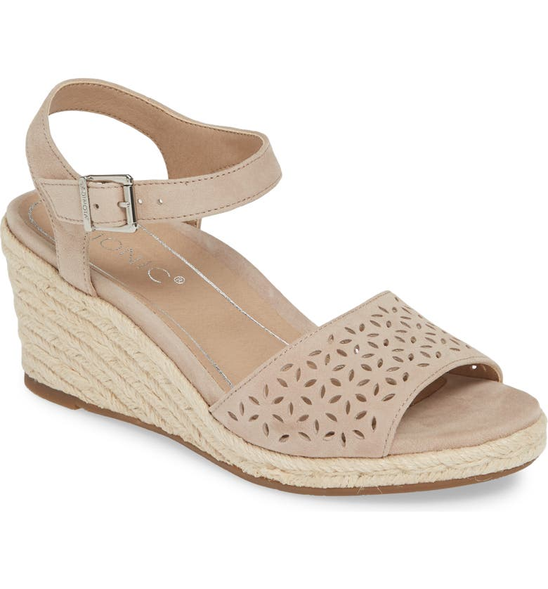 VIONIC Ariel Perforated Wedge Sandal, Main, color, NUDE SUEDE