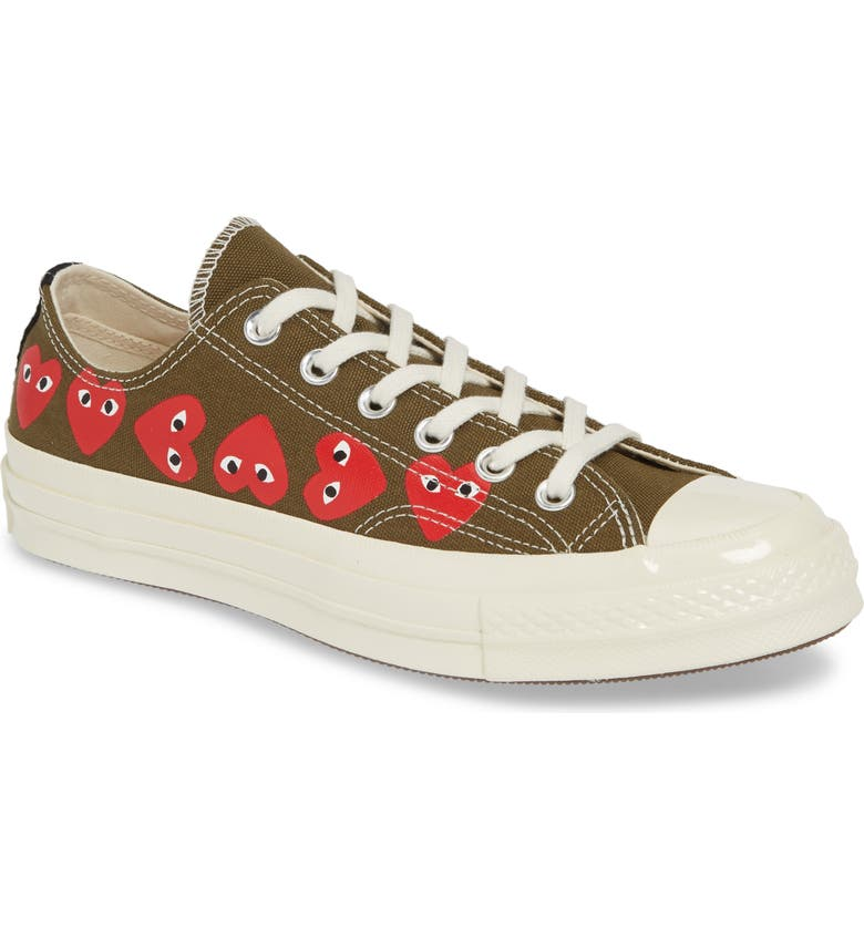 COMME DES GARÇONS PLAY x Converse Chuck Taylor<sup>®</sup> Low Top Sneaker, Main, color, KHAKI
