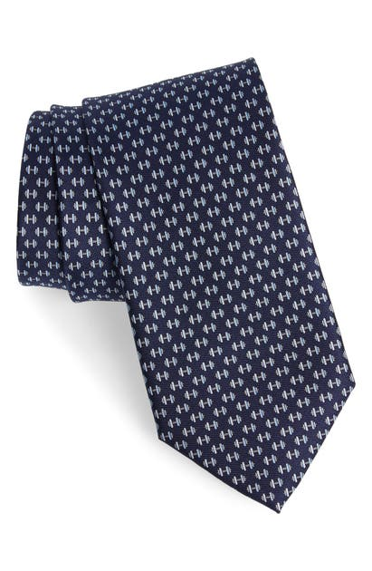 Salvatore Ferragamo Dumbbell Silk Classic Tie In F.navy/ Perla