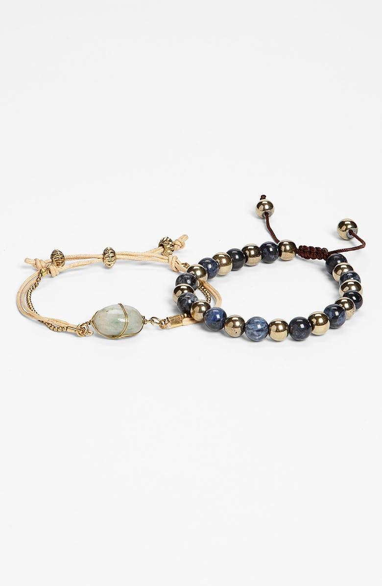 STEPHAN & CO. Raw Stone Bead Bracelet Set, Main, color, 315