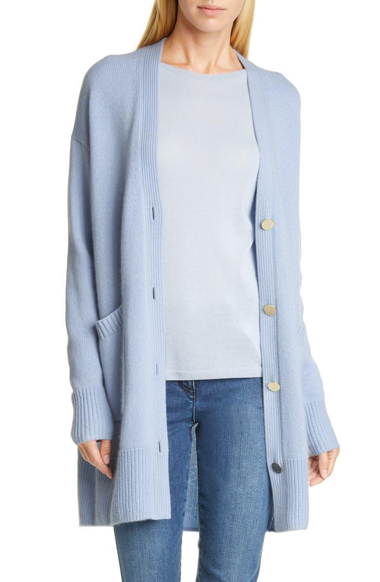 ST. JOHN COLLECTION Longline Cashmere Cardigan, Main, color, SAIL BLUE
