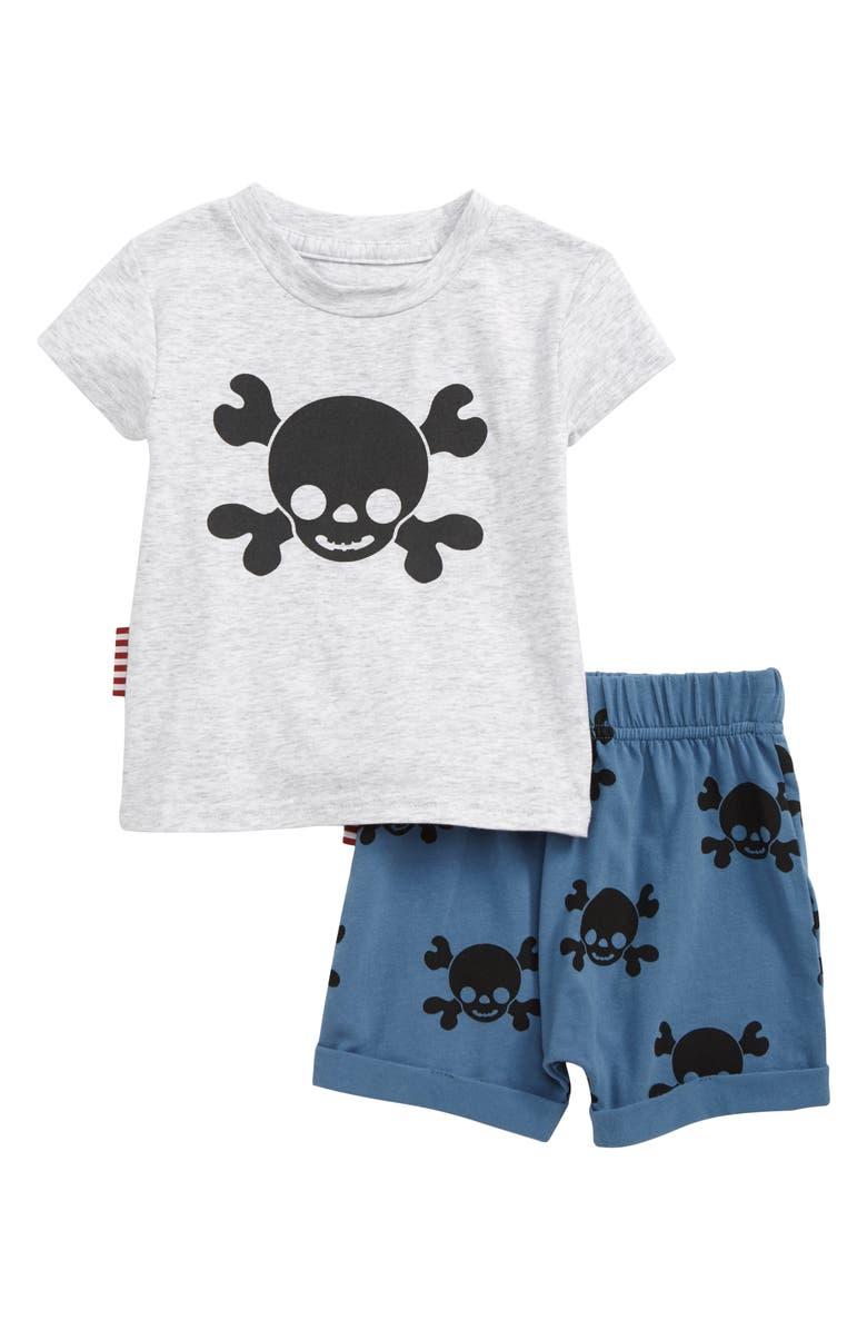 SOOKIBABY Skull T-Shirt & Shorts Set, Main, color, GREY MARLE / BLUE