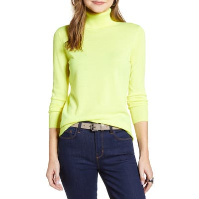 Halogen Turtleneck Merino Wool Blend Sweater, Yellow