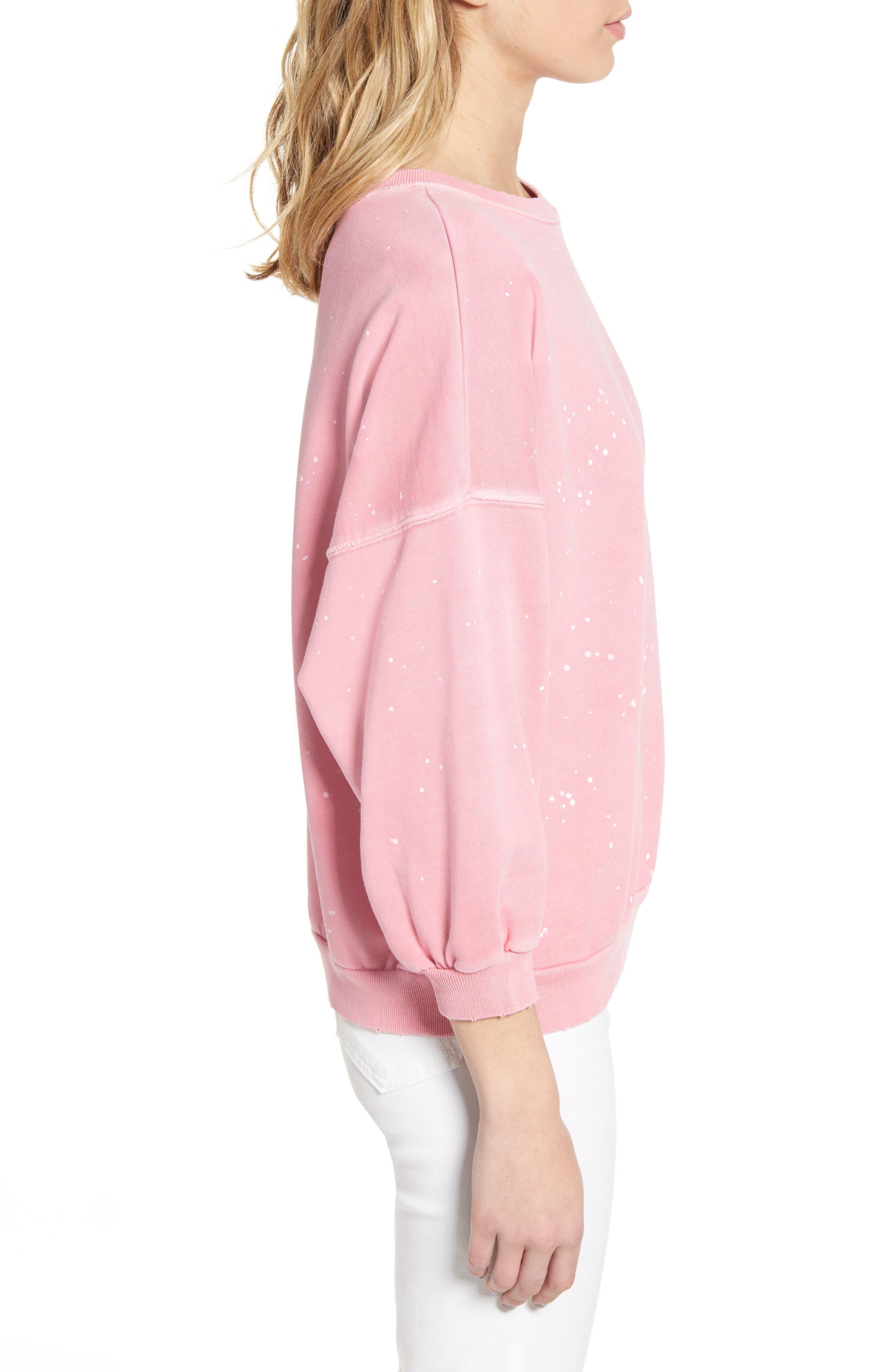 ,                             Storn Splatter Sweatshirt,                             Alternate thumbnail 3, color,                             PINK