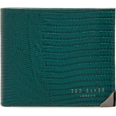 Ted Baker London Bifold Leather Wallet With Zip Pocket - Green