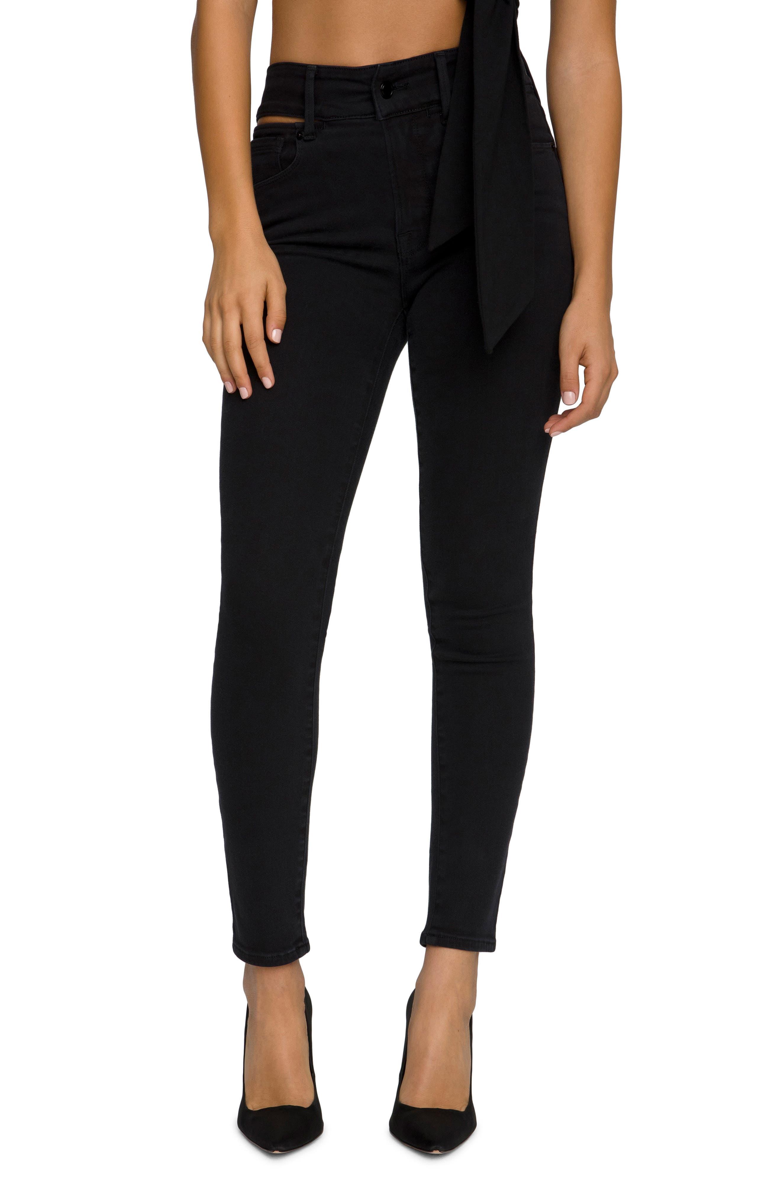 Women's Good American Good Legs Slit Waistband Ankle Skinny Jeans