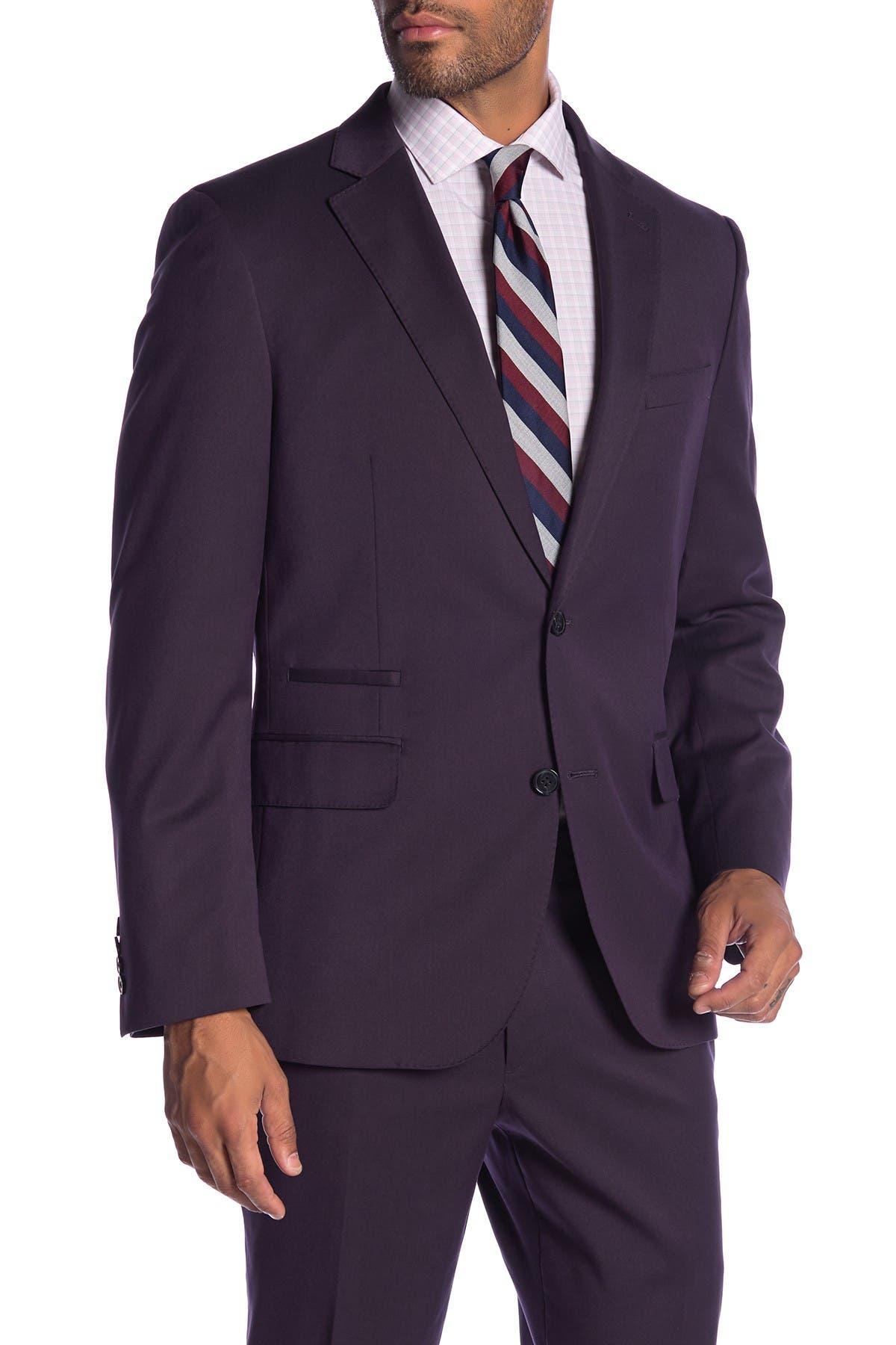 Image of SAVILE ROW CO Rivington Purple Two Button Notch Lapel Modern Fit Gab Suit Separate Jacket