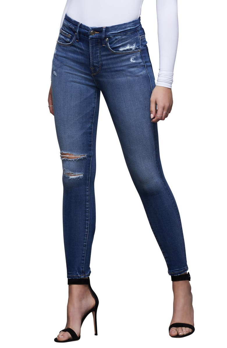 GOOD AMERICAN Good Legs Ripped High Waist Ankle Skinny Jeans, Main, color, 402