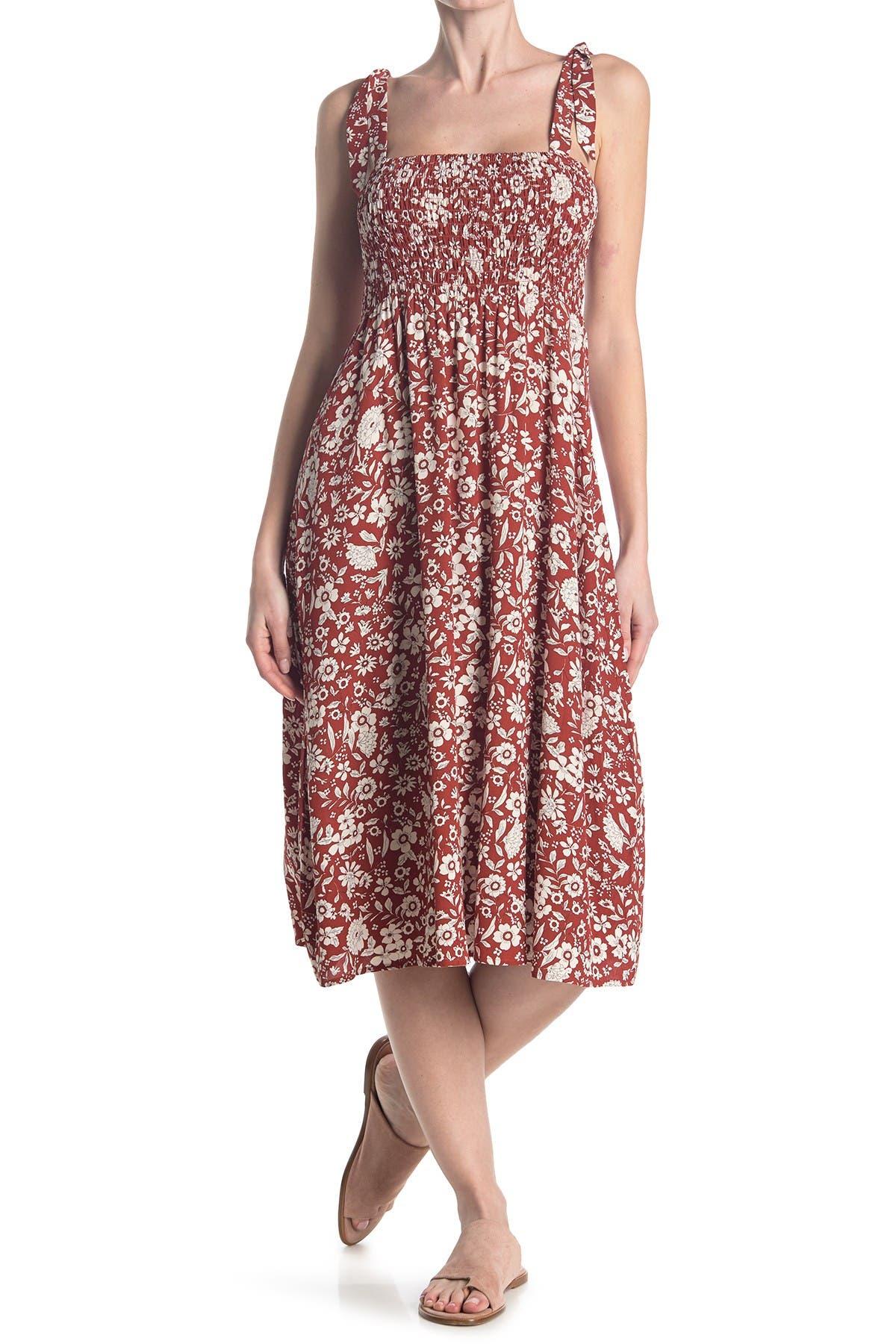Image of Sanctuary Wine Tasting Floral Smocked Maxi Dress