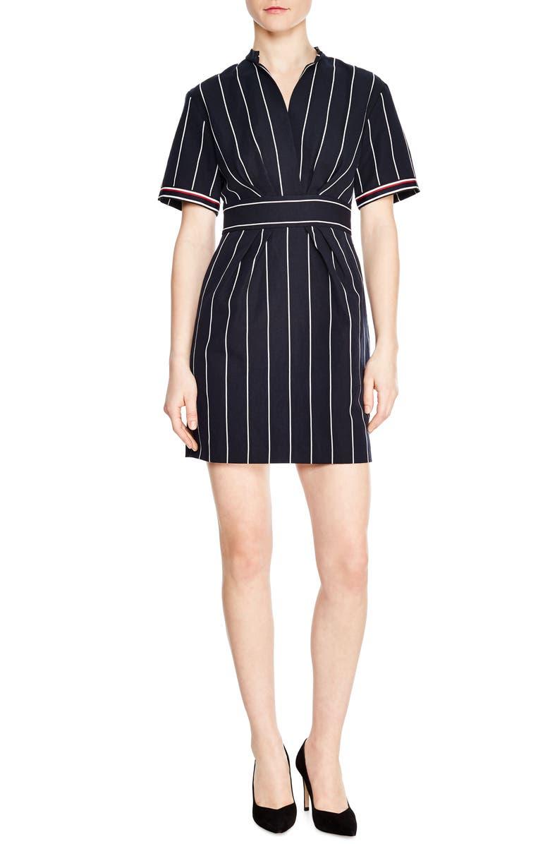 SANDRO Francine Stripe Dress, Main, color, 400