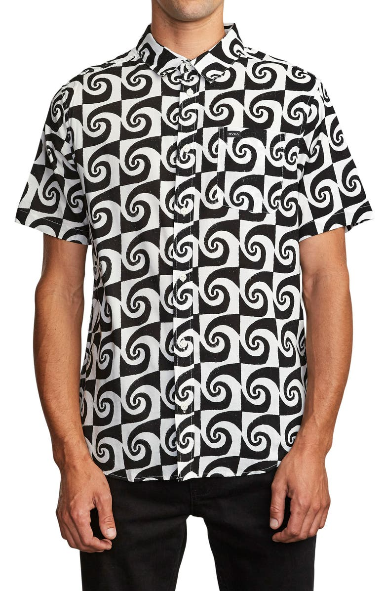 RVCA Whirlpool Graphic Short Sleeve Button-Up Shirt, Main, color, ANTIQUE WHITE
