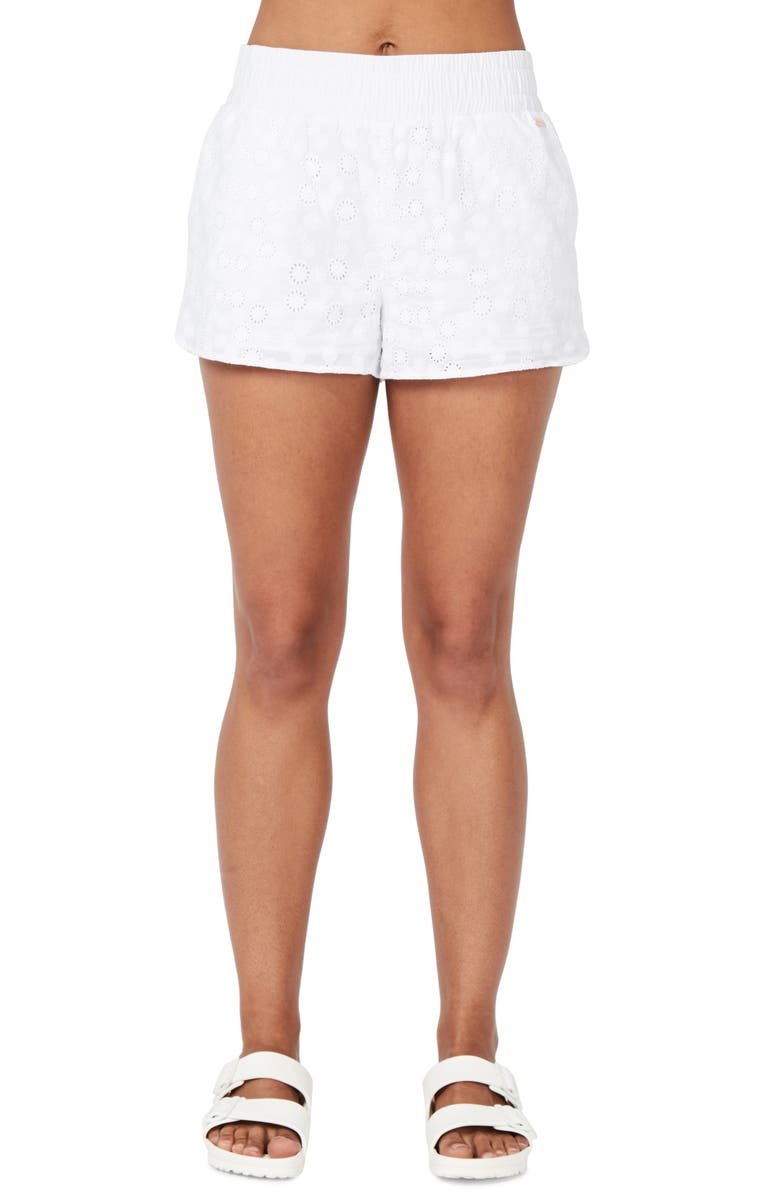 SWEATY BETTY Broderie Beach Shorts, Main, color, 100