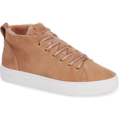 Blackstone Ql48 Genuine Shearling Lined High Top Sneaker, Beige