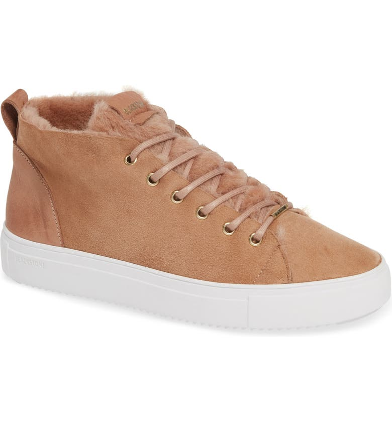 BLACKSTONE QL48 Genuine Shearling Lined High Top Sneaker, Main, color, CAFE AU LAIT LEATHER