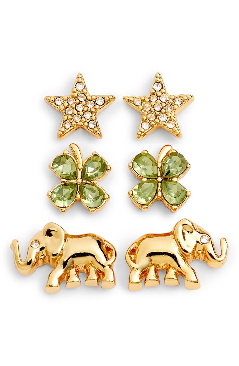 KATE SPADE NEW YORK things we love good luck set of 3 stud earrings, Main, color, 710