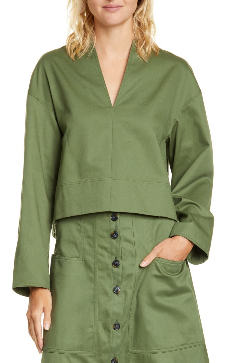 TIBI Harrison Chino Sculpted Crop Top, Main, color, ARMY GREEN