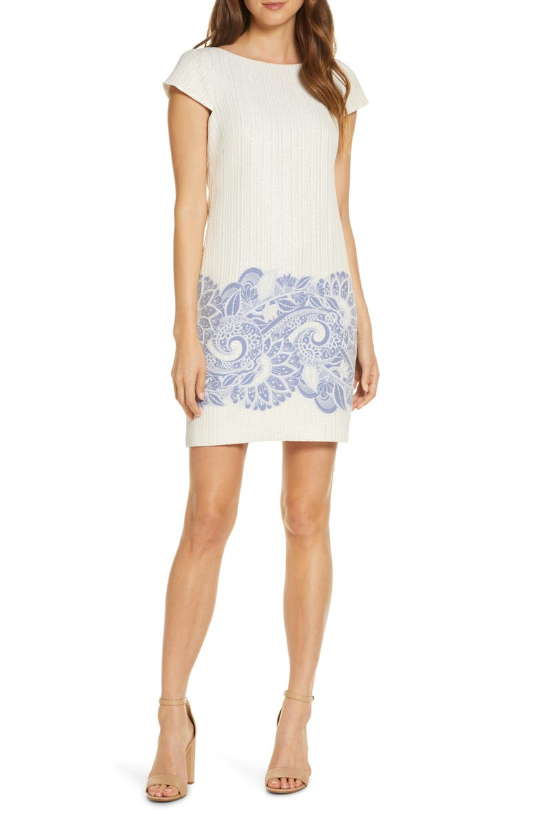 VINCE CAMUTO Metallic Jacquard Cap Sleeve Shift Dress, Main, color, 900