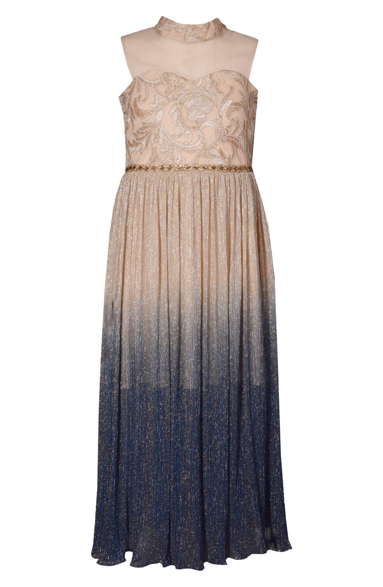 IRIS & IVY Metallic Ombré Mesh Gown, Main, color, BEIGE