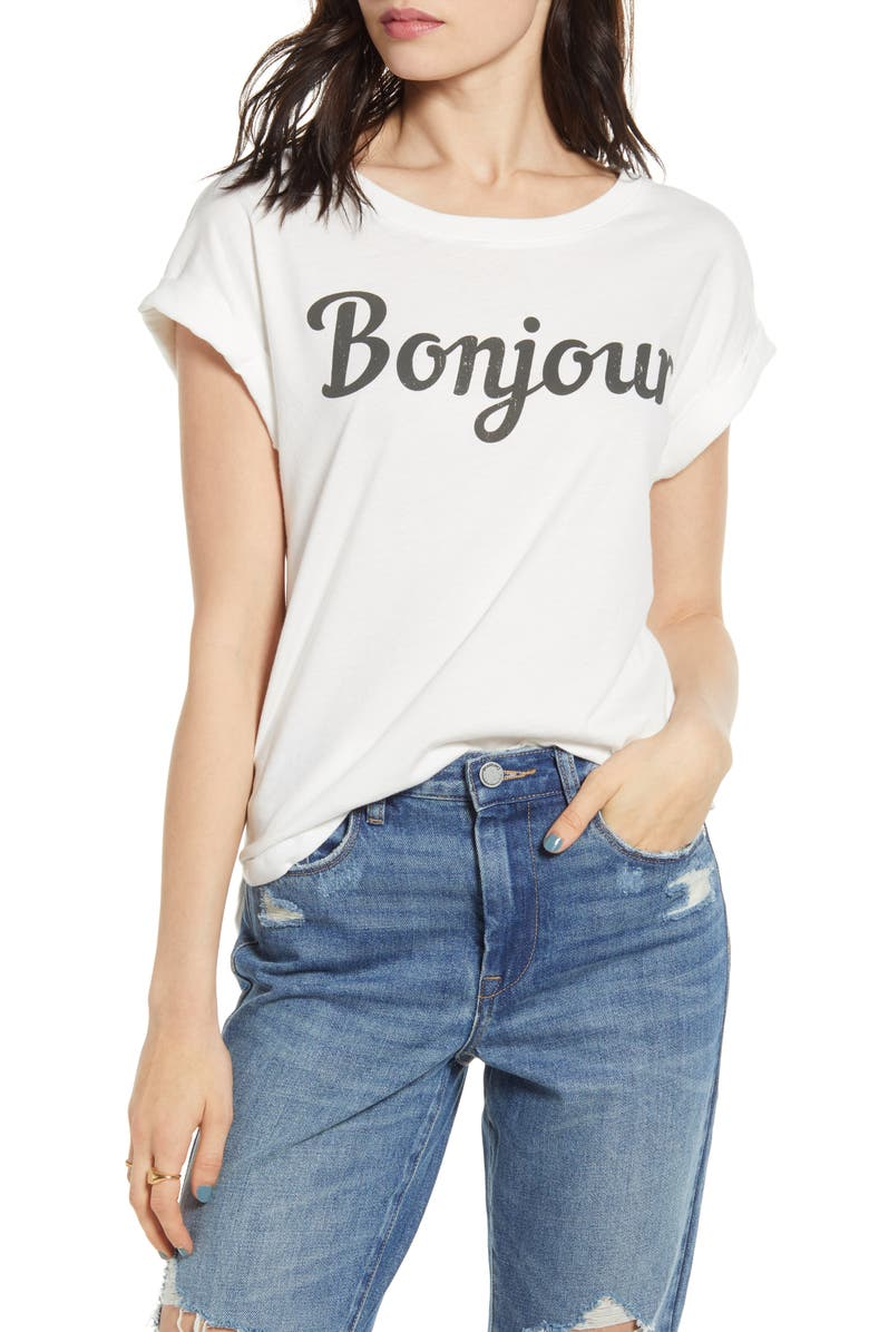 DAY BY DAYDREAMER Bonjour Graphic Tee, Main, color, VINTAGE WHITE