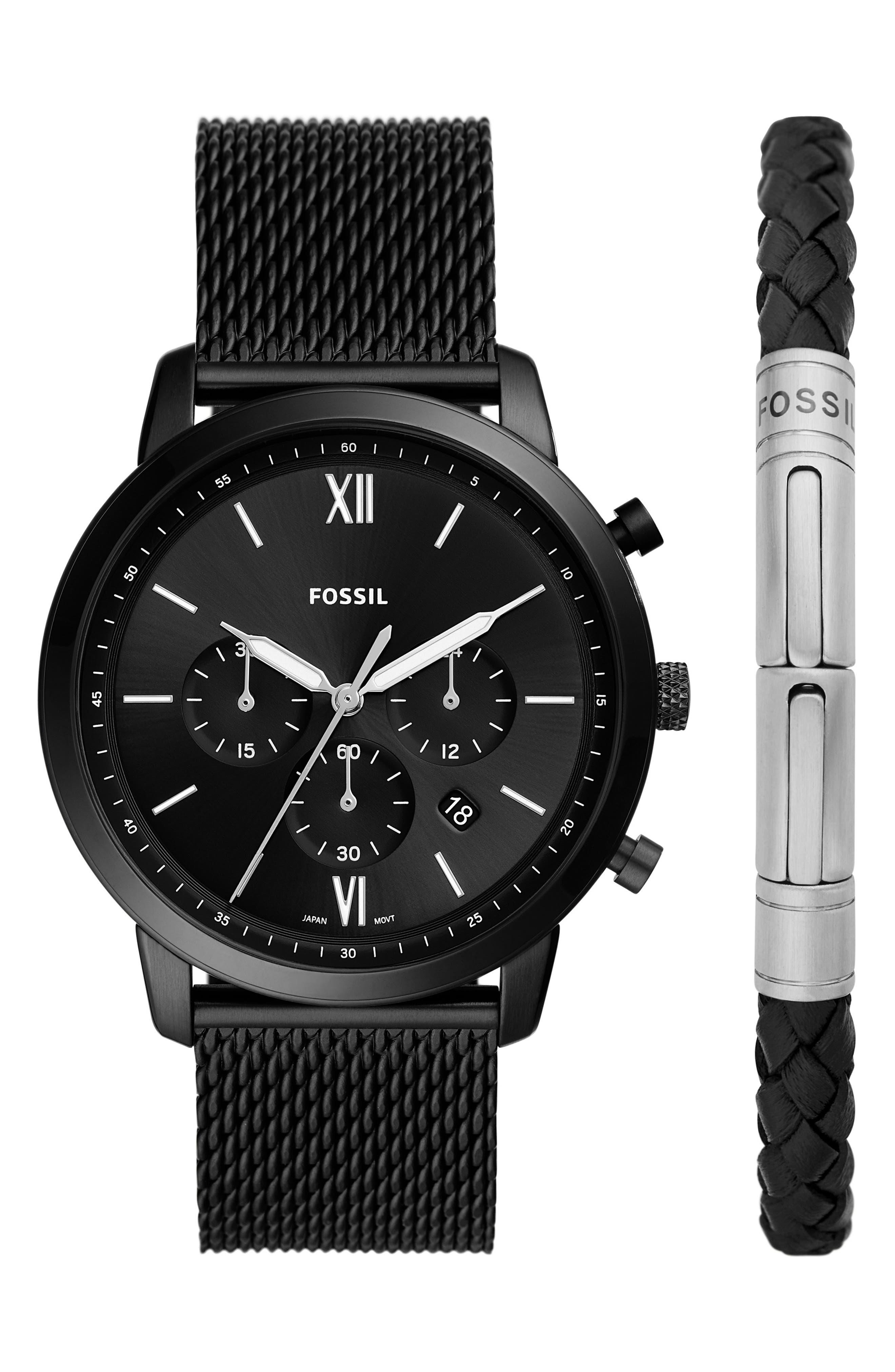 Neutra Chronograph Mesh Strap Watch & Bracelet Set