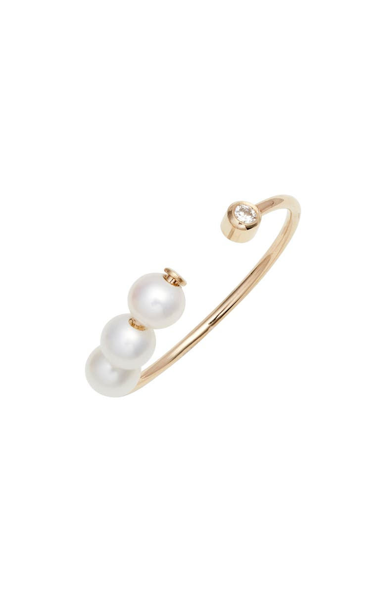 POPPY FINCH Open Pearl & Diamond Ring, Main, color, GOLD/ PEARL/ DIAMOND
