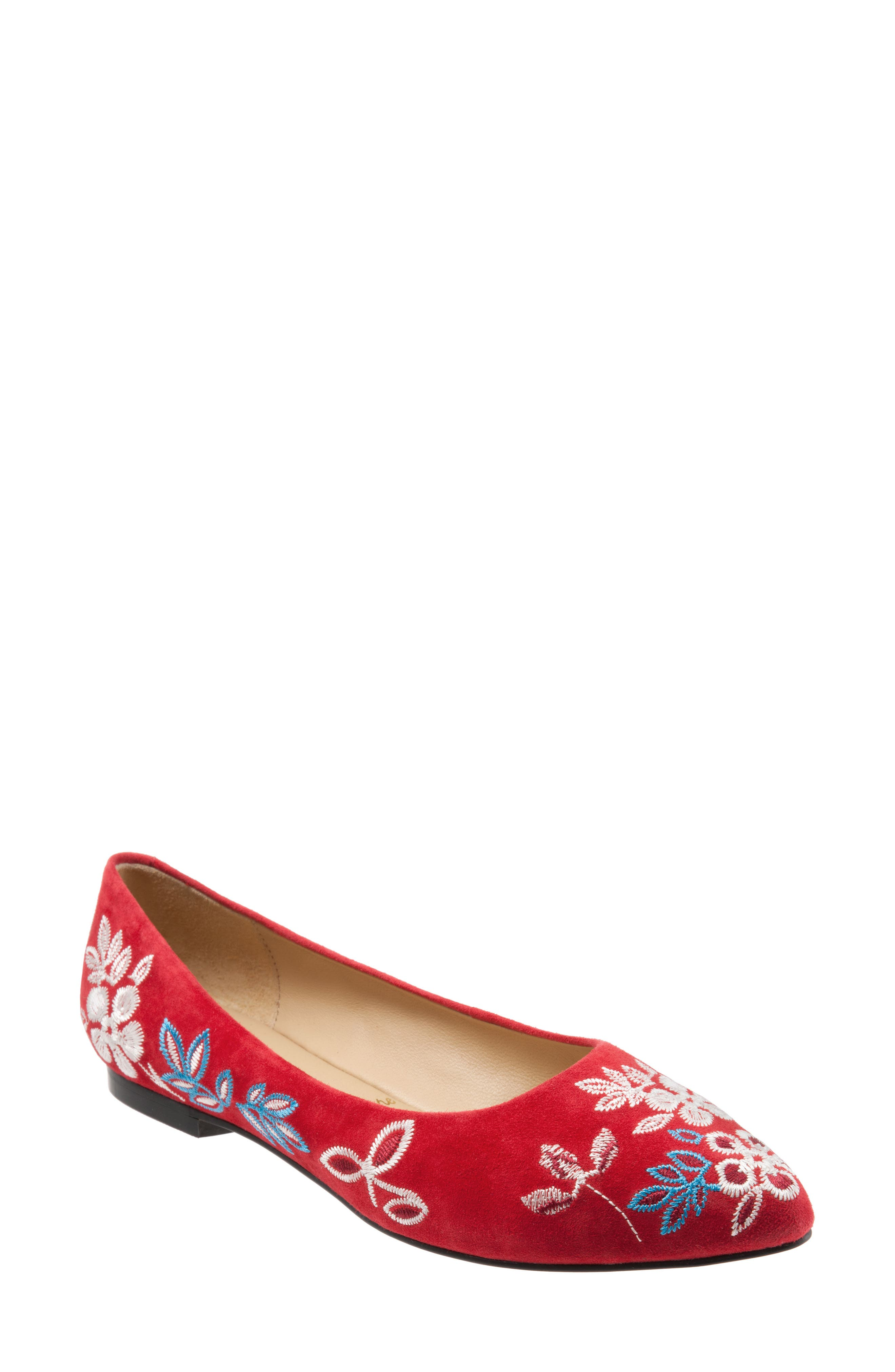 Retro Vintage Flats and Low Heel Shoes Womens Trotters Estee Pointed Toe Flat Size 7.5 W - Red $224.95 AT vintagedancer.com