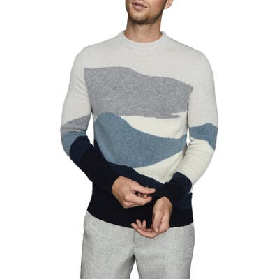 Reiss Turner Colorblock Crewneck Sweater, Blue