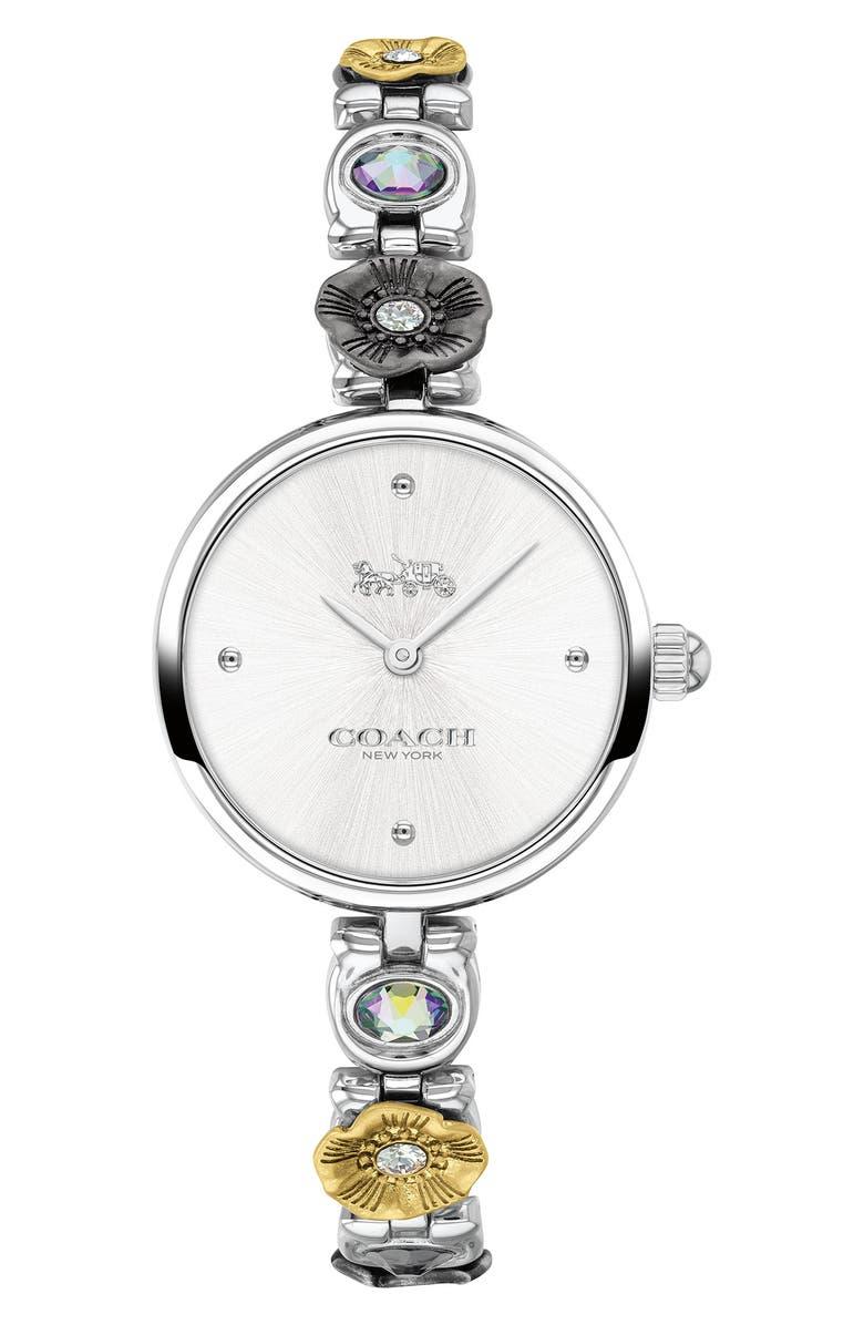 COACH Park Tea Rose Bracelet Watch, 26mm, Main, color, SILVER/ GREY/ SILVER