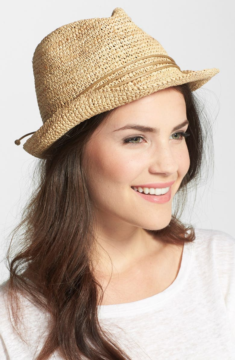 HINGE Raffia Crochet Fedora, Main, color, 250