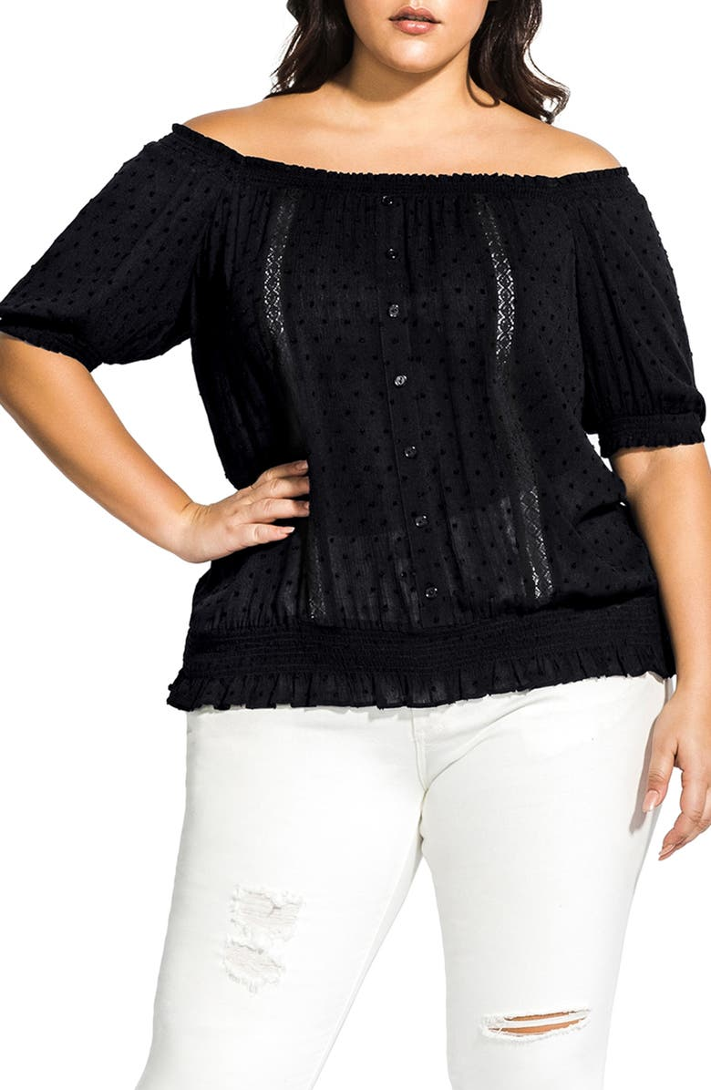 CITY CHIC Off the Shoulder Top, Main, color, 001