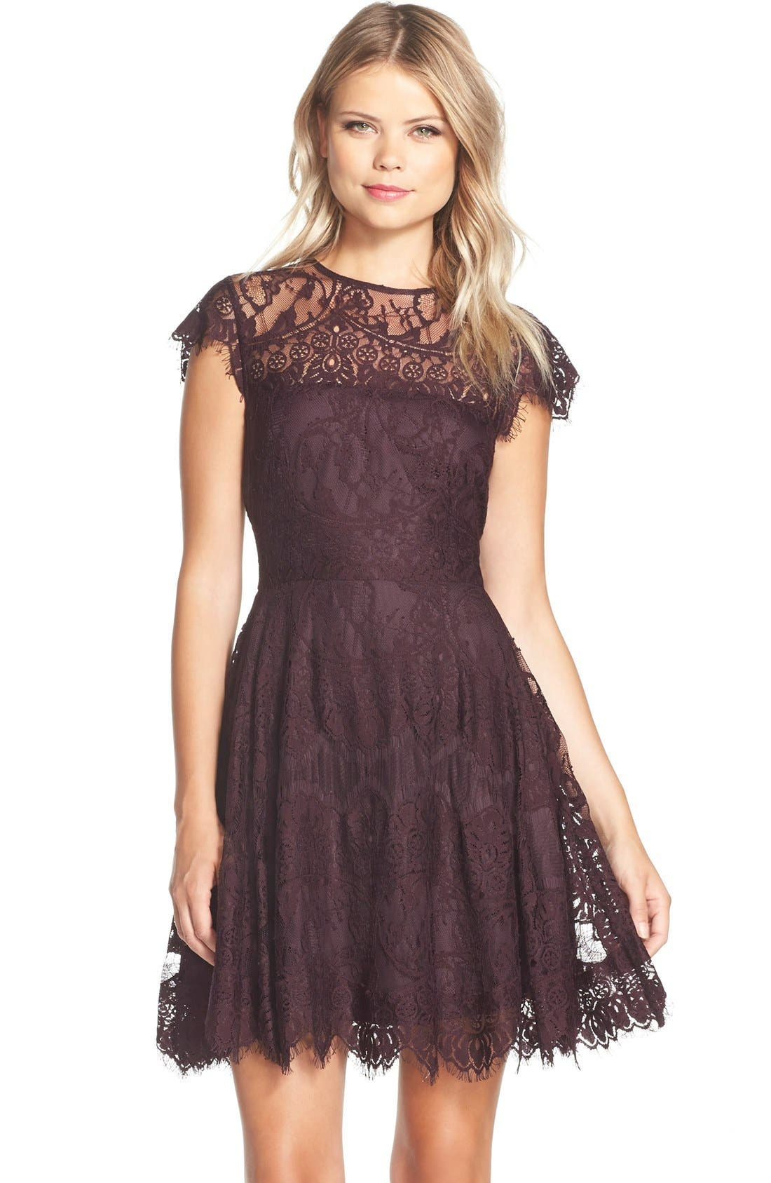 ,                             Rhianna Open Back Lace Fit & Flare Cocktail Dress,                             Main thumbnail 54, color,                             502