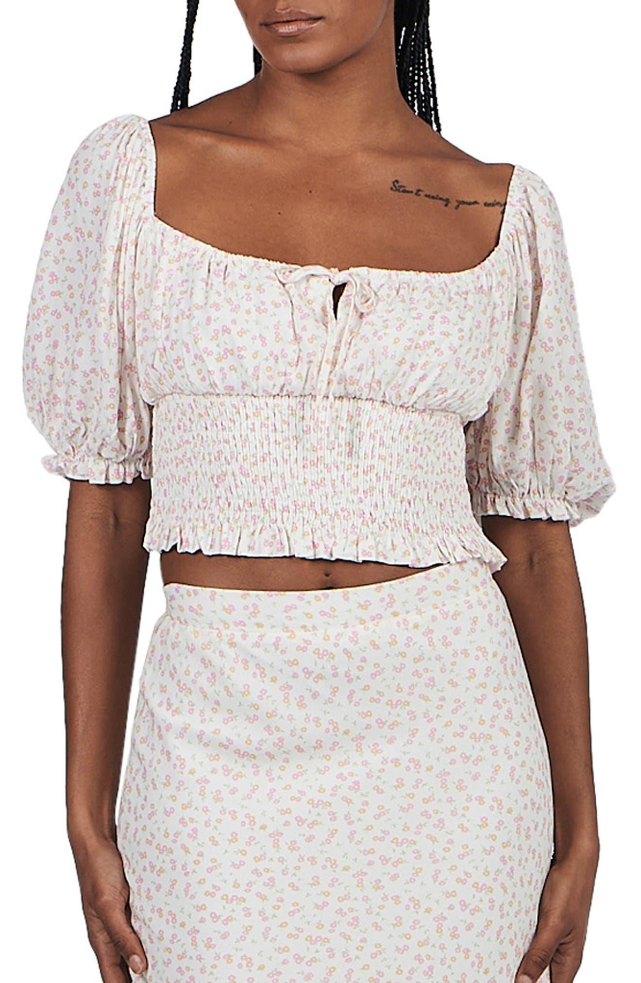 Audrey Floral Linen & Cotton Top