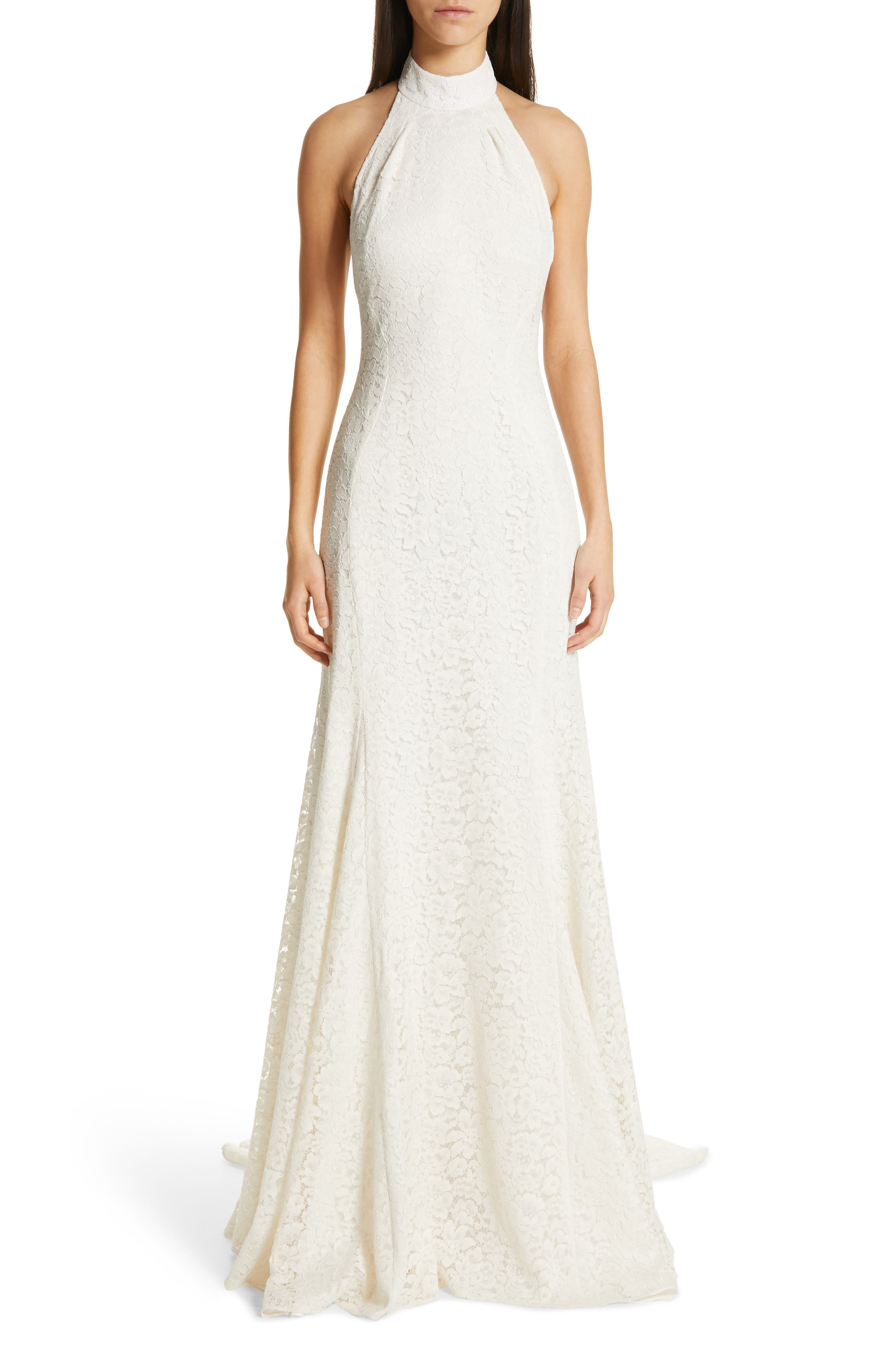 Stella Mccartney F18 Magnolia Halter Lace Wedding Dress, 8 IT - Ivory