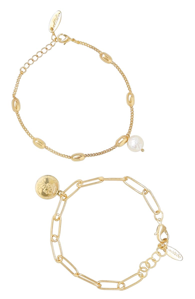 ETTIKA Set of 2 Pearl Chain Link Bracelets, Main, color, 710