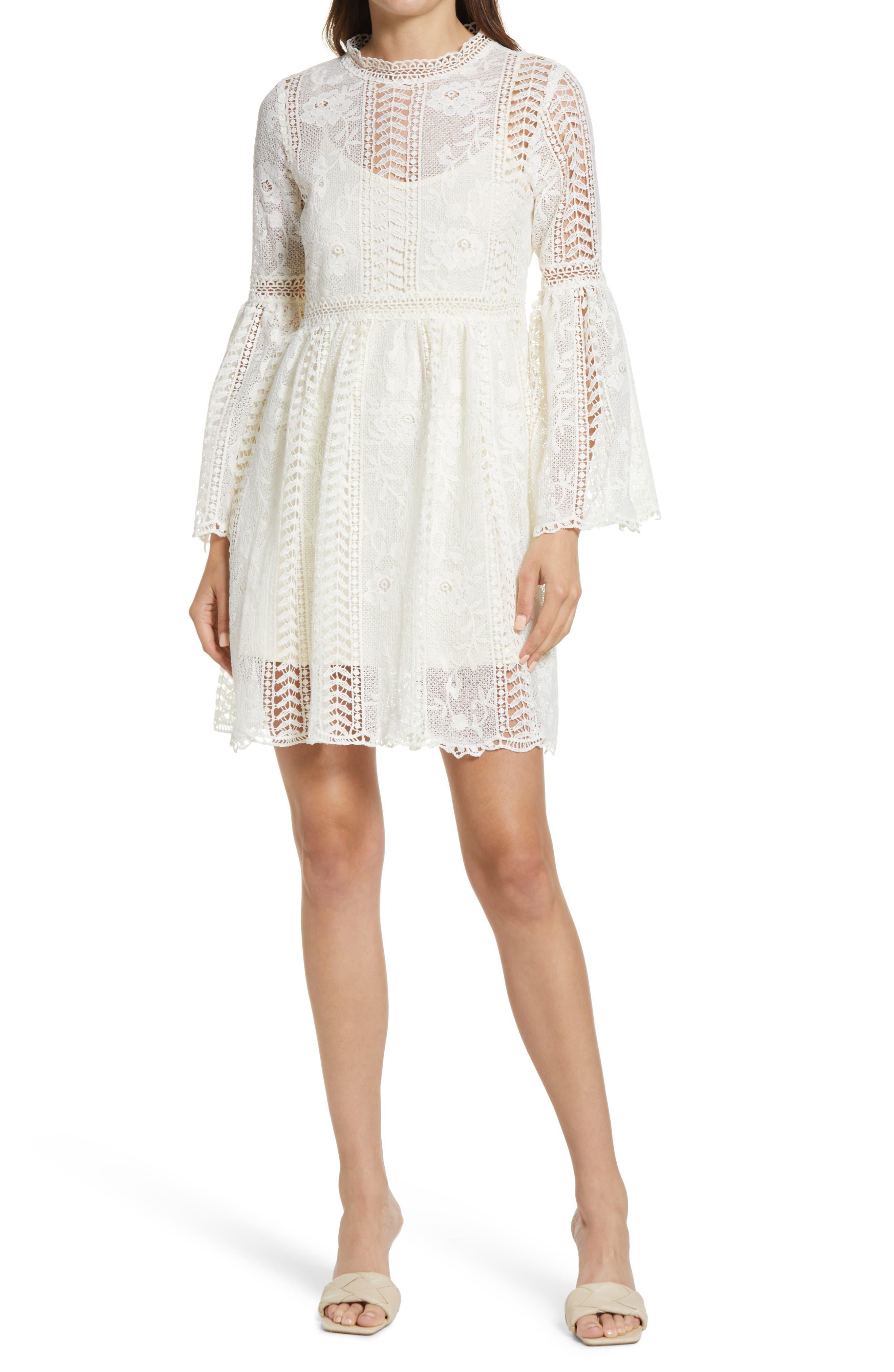 Long Sleeve Crochet Lace Minidress